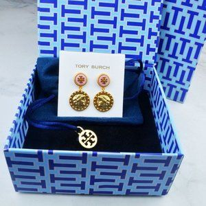 Tory Burch Pink Gold Coin Earrings